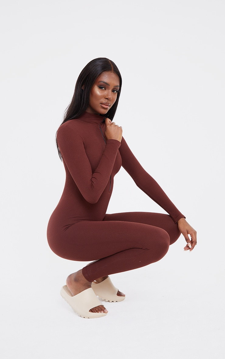 Tall Chocolate Structured Contour Rib Jumpsuit 3