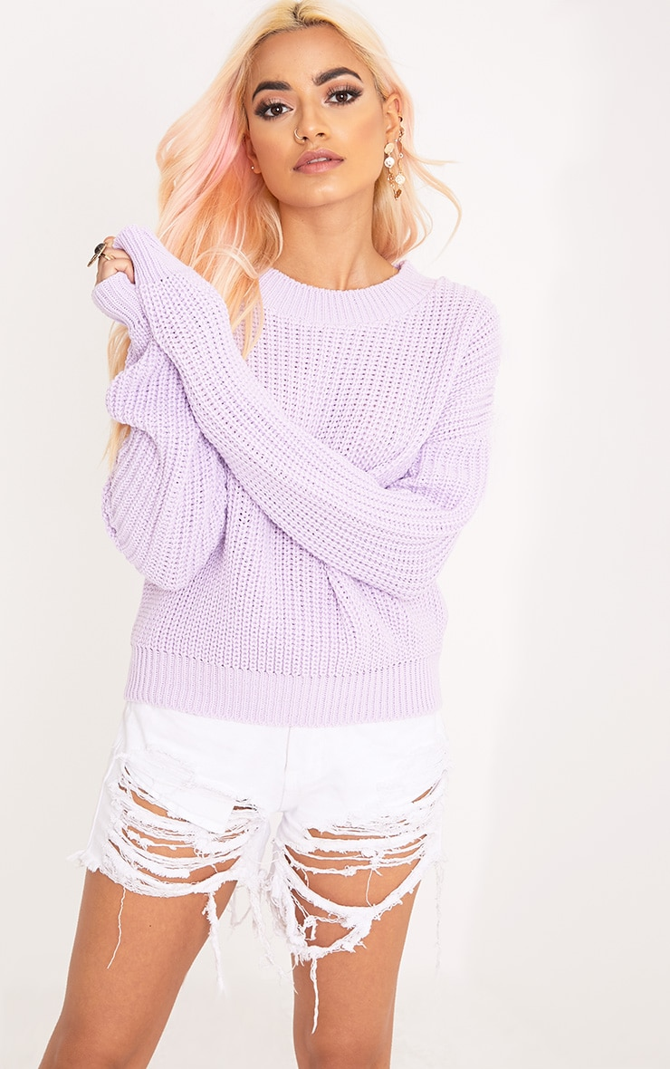 Cara Lilac Cropped Knit Jumper 1