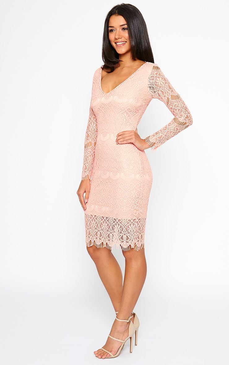 Lenix Coral Lace Midi Dress 3