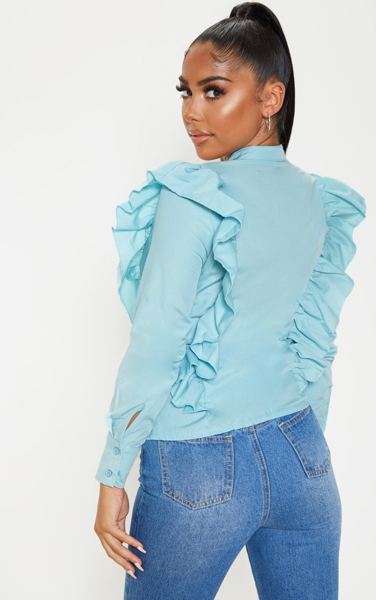 Petite Dusty Blue Frill Detail Long Sleeve Shirt  2
