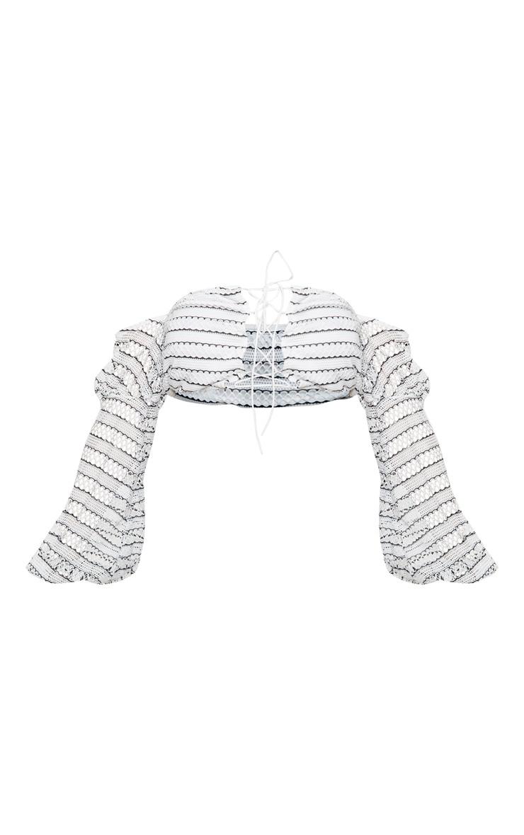 Mono Stripe Crochet Lace Up Bardot Long Sleeve Top 3
