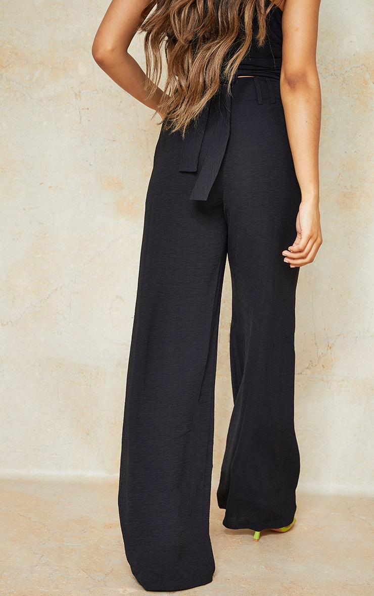Petite Black High Waisted Pocket Detail Trousers 3