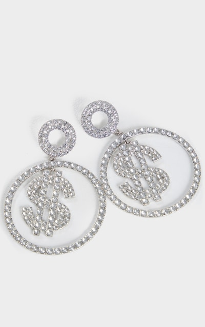 Silver Diamante Dollar Sign Large Hoop Earrings