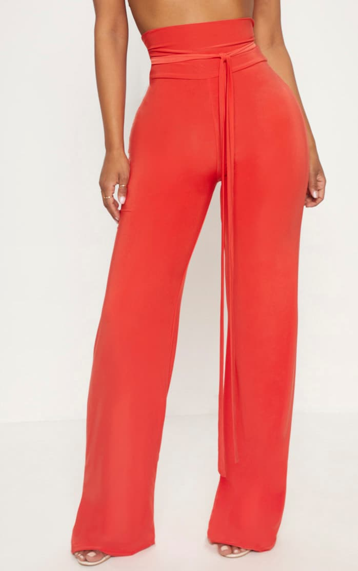 Shape Orange Slinky Extreme High Waist Detail Wide Leg Trousers 2