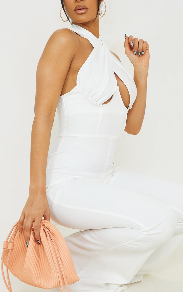 White Cross Bust Underwired Flare Jumpsuit 4