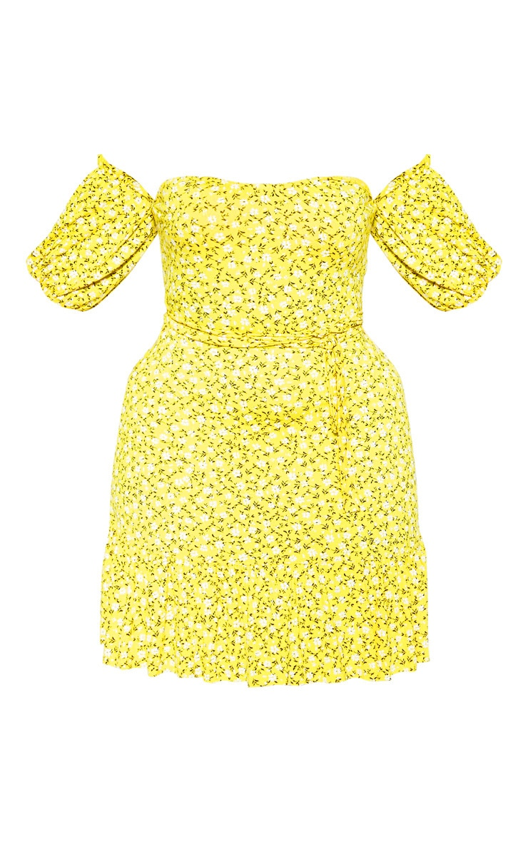 Plus Yellow Ditsy Print Bardot Frill Hem Skater Dress 3