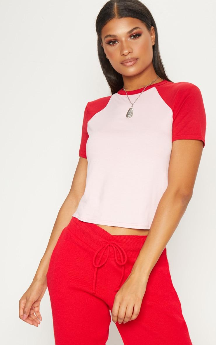 Pink Contrast Sleeve T Shirt 4