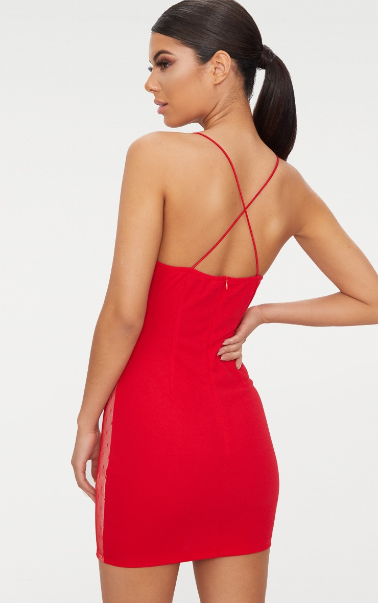 Red Lace Panel Plunge Bodycon Dress  2