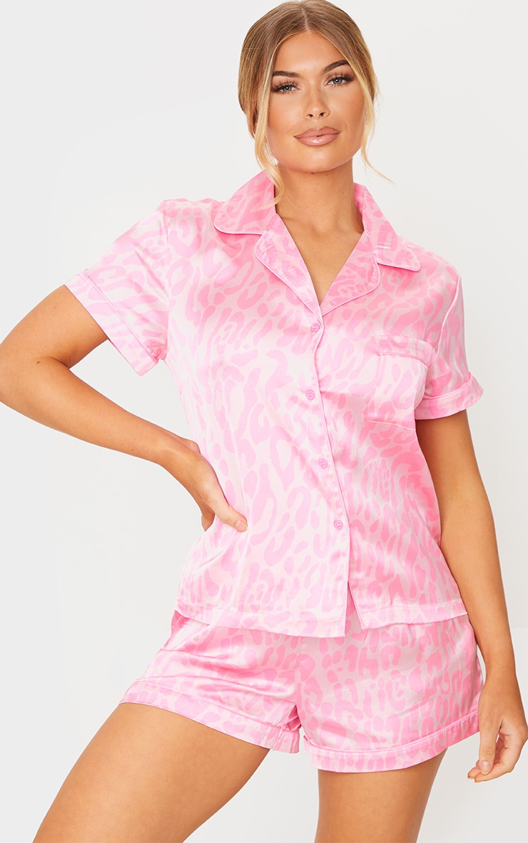 Bright Pink Leopard Print Short Satin PJ Set 3