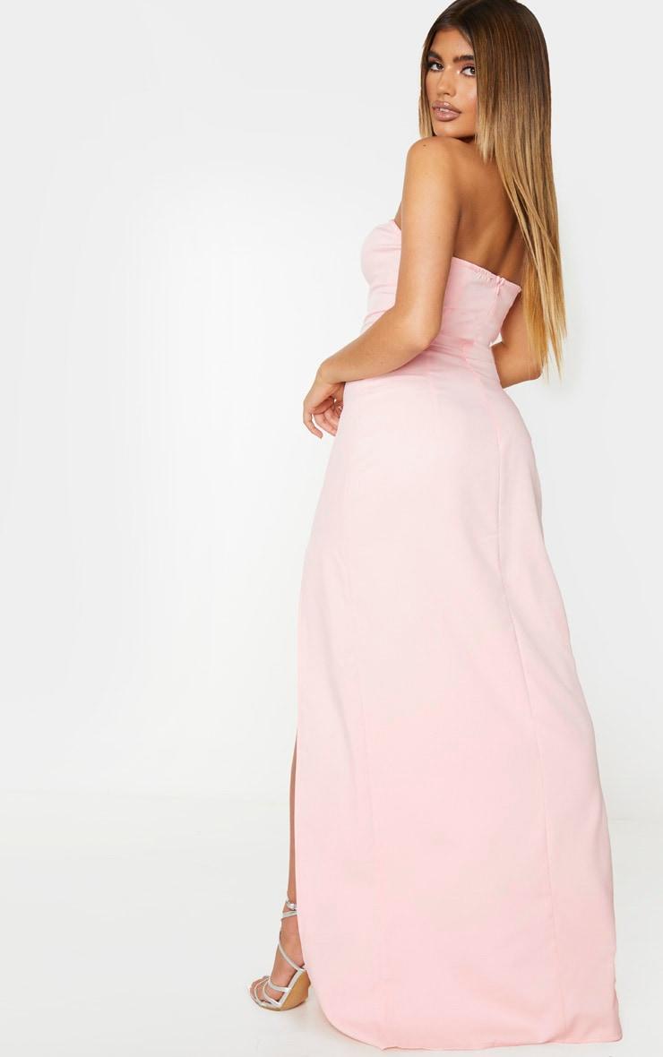 Pale Pink Corset Detail Bandeau Maxi Dress 2