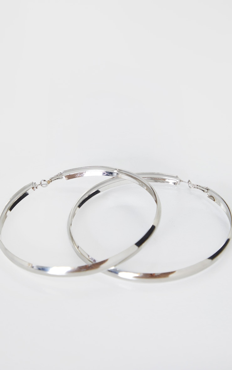 Silver Thick Flat Large Hoop Earrings 3