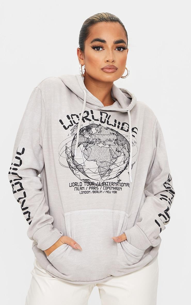 Petite - Hoodie gris pierre à slogan Worldwide 1