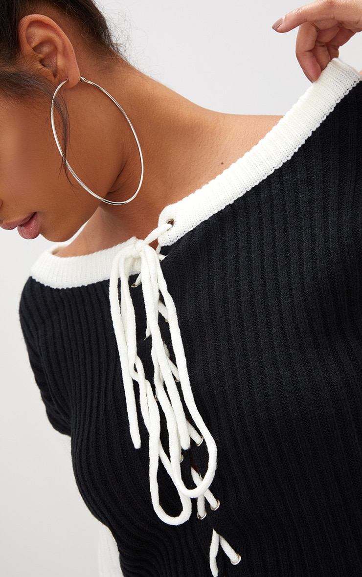 Black Lace Up Cropped Knitted Jumper  5