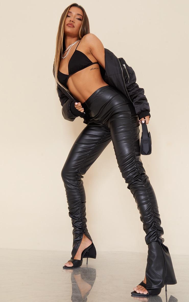 Black Faux Leather Ruched Leg Split Hem Leggings 1