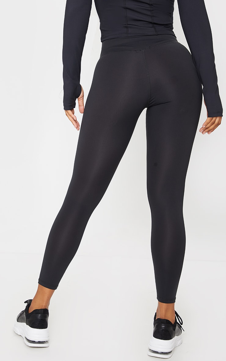 Black Brushed Luxe High Waist Cropped Gym Leggings 3