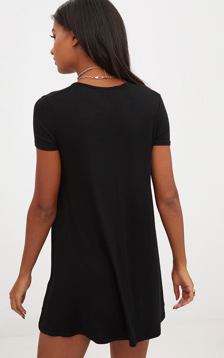 Black Cap Sleeve V Neckline Swing Dress 2