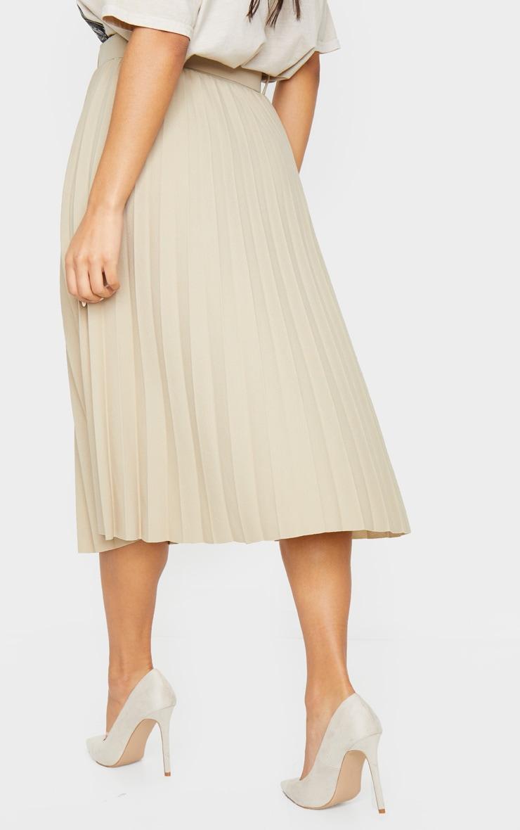 Stone Pleated Belted Midi Skirt 3