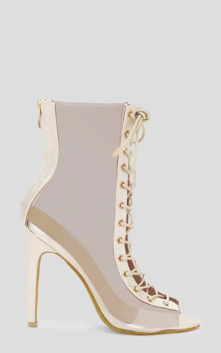 White Lace Up Clear Ankle Boot 3