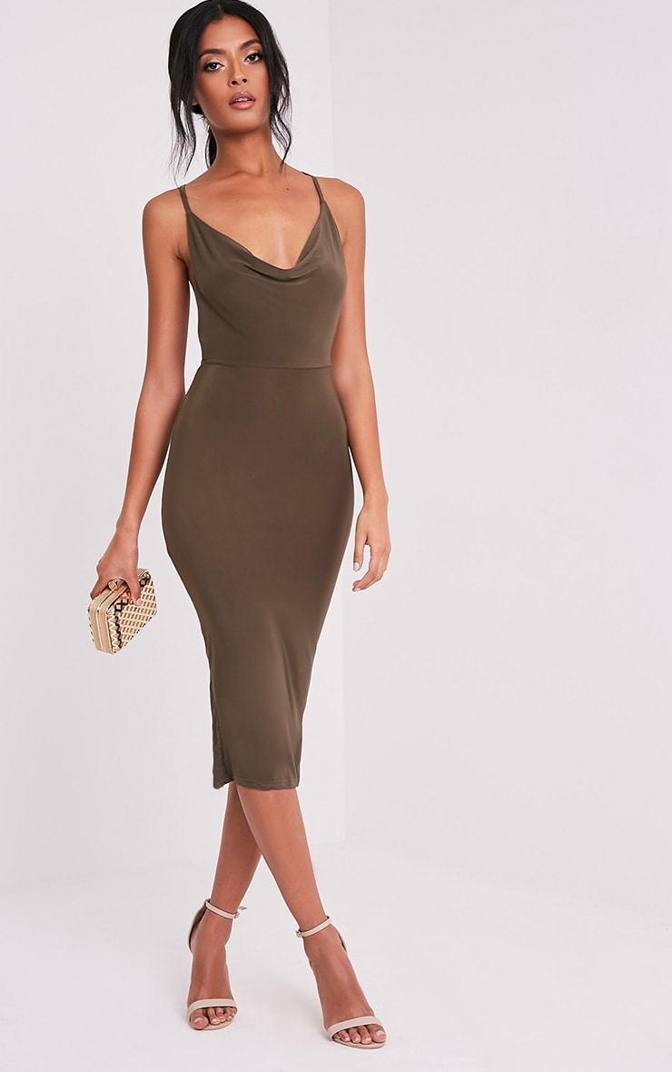 Kayda Khaki Cross Back Cowl Neck Slinky Midi Dress 1