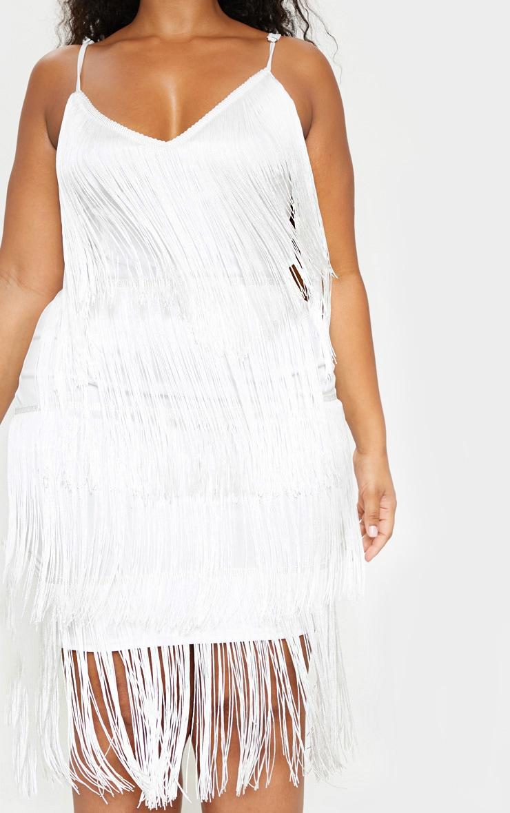 Plus White Strappy Tassel Midi Dress 5