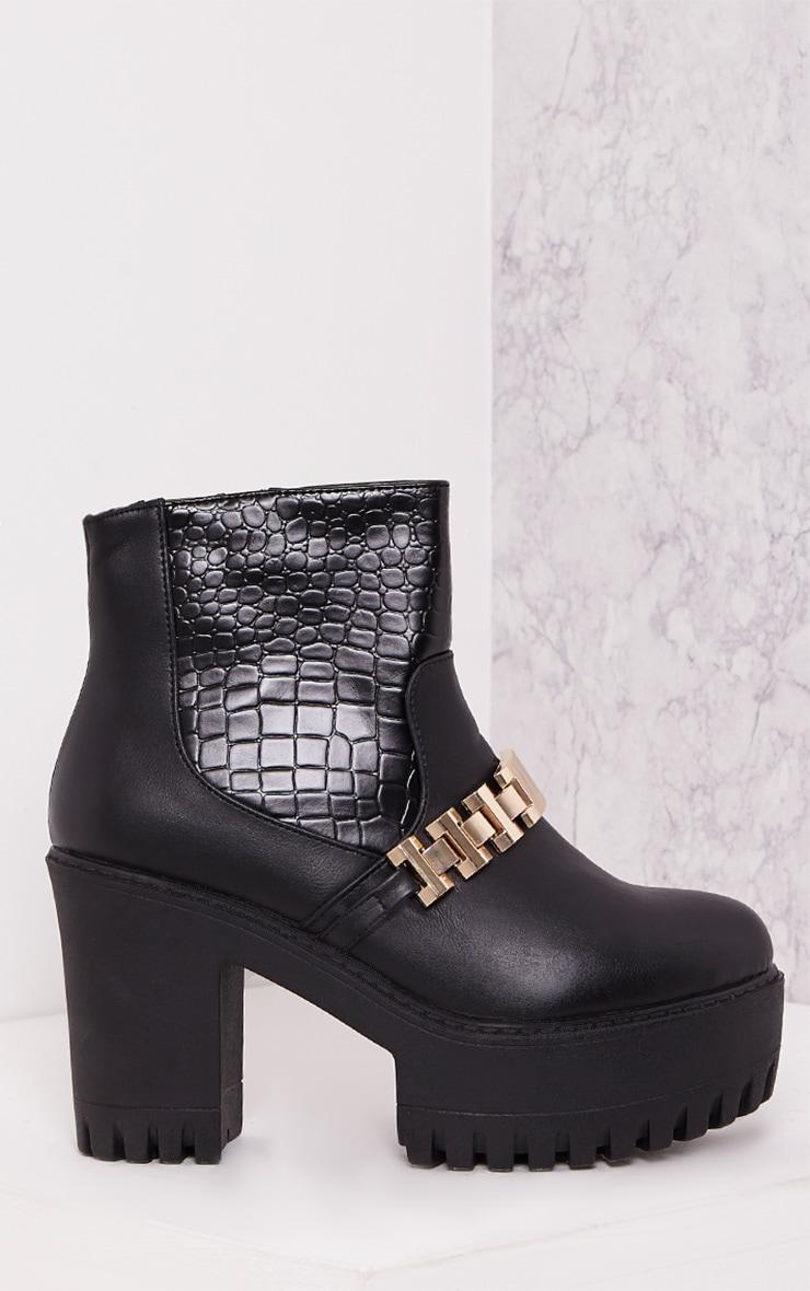 Joycie Black Chain Detail Platform Ankle Boots 1