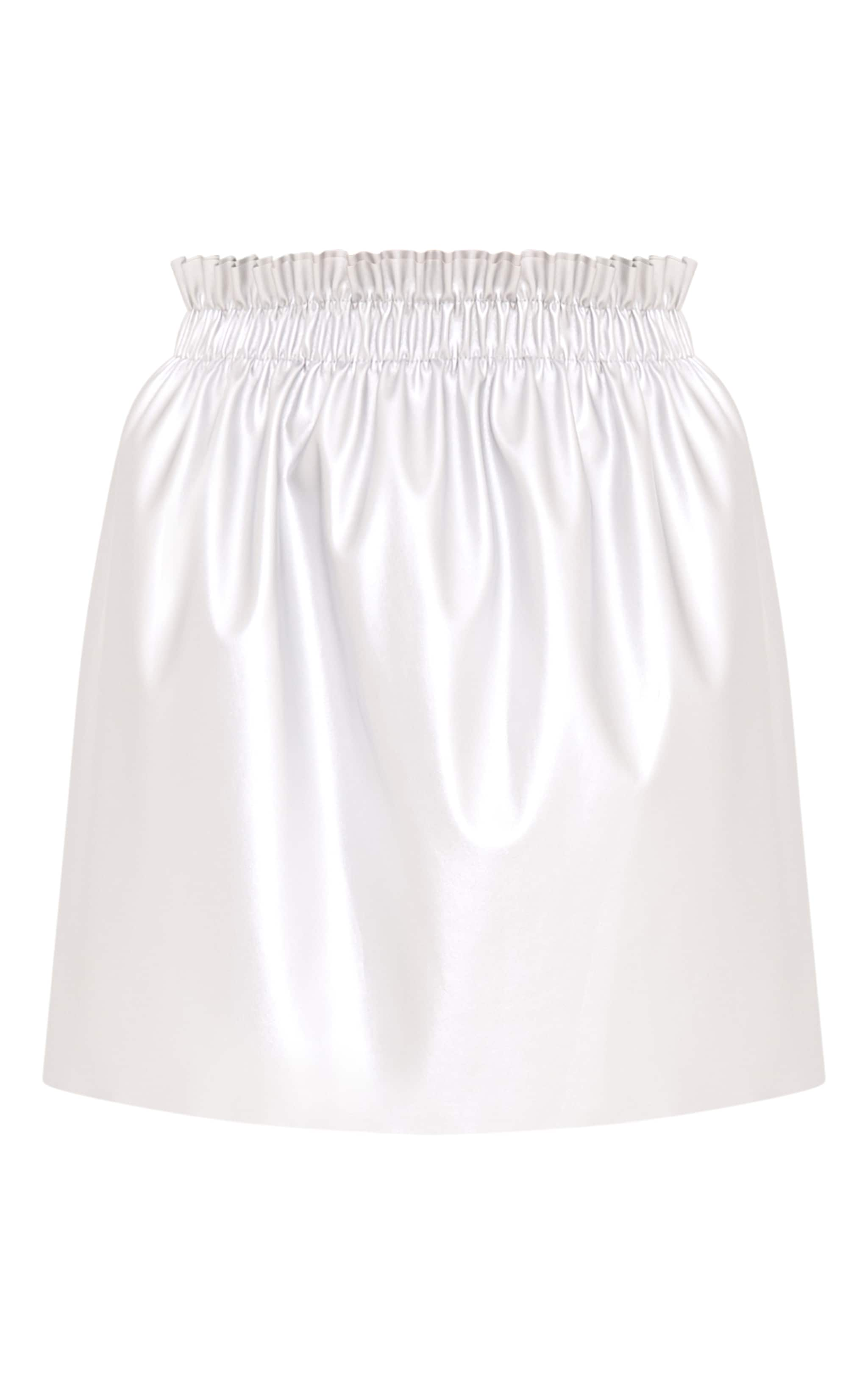 Ayesha Silver Metallic Ruched Waist Mini Skirt  3