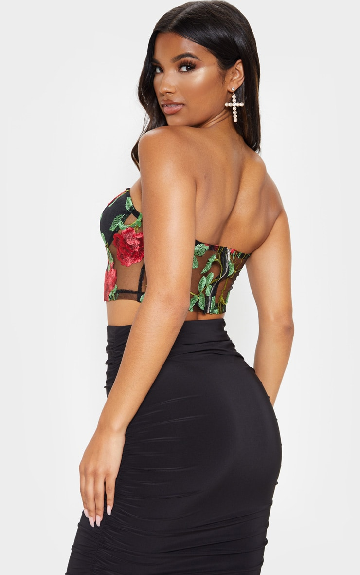 Red Floral Mesh Embroidered Bandeau 3
