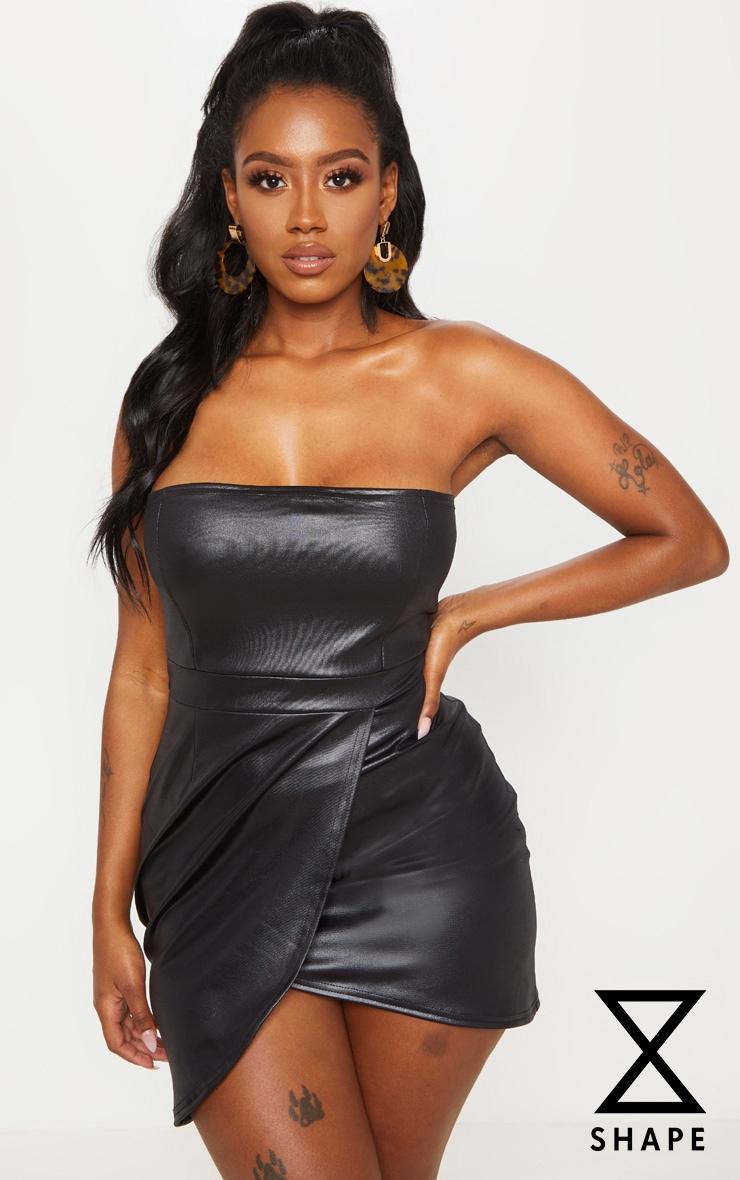 Shape Black Pu Bandeau Zip Back Bodycon Dress by Prettylittlething