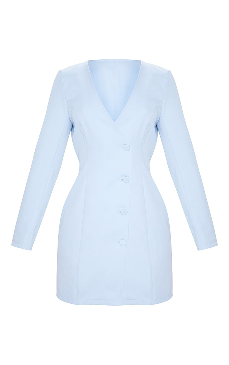 Baby Blue Long Sleeve Covered Button Blazer Dress 5