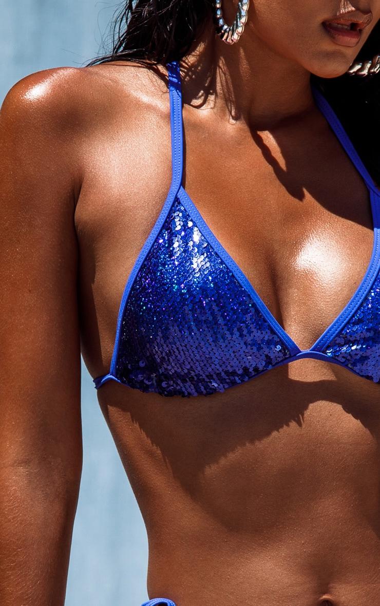 Cobalt Sequin Triangle Bikini Top 5