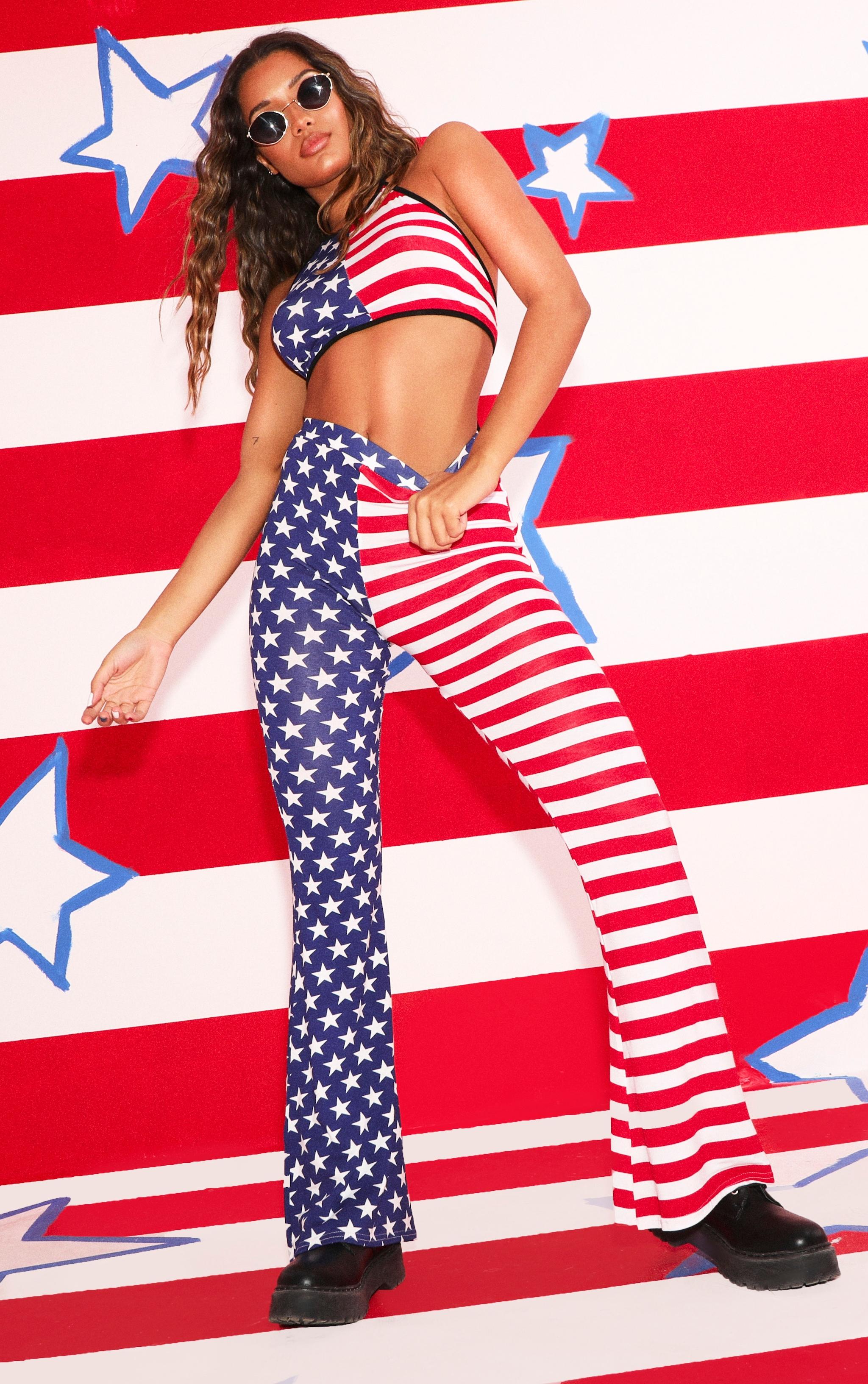 Multi American Flag Printed Flare Leg Pants 1