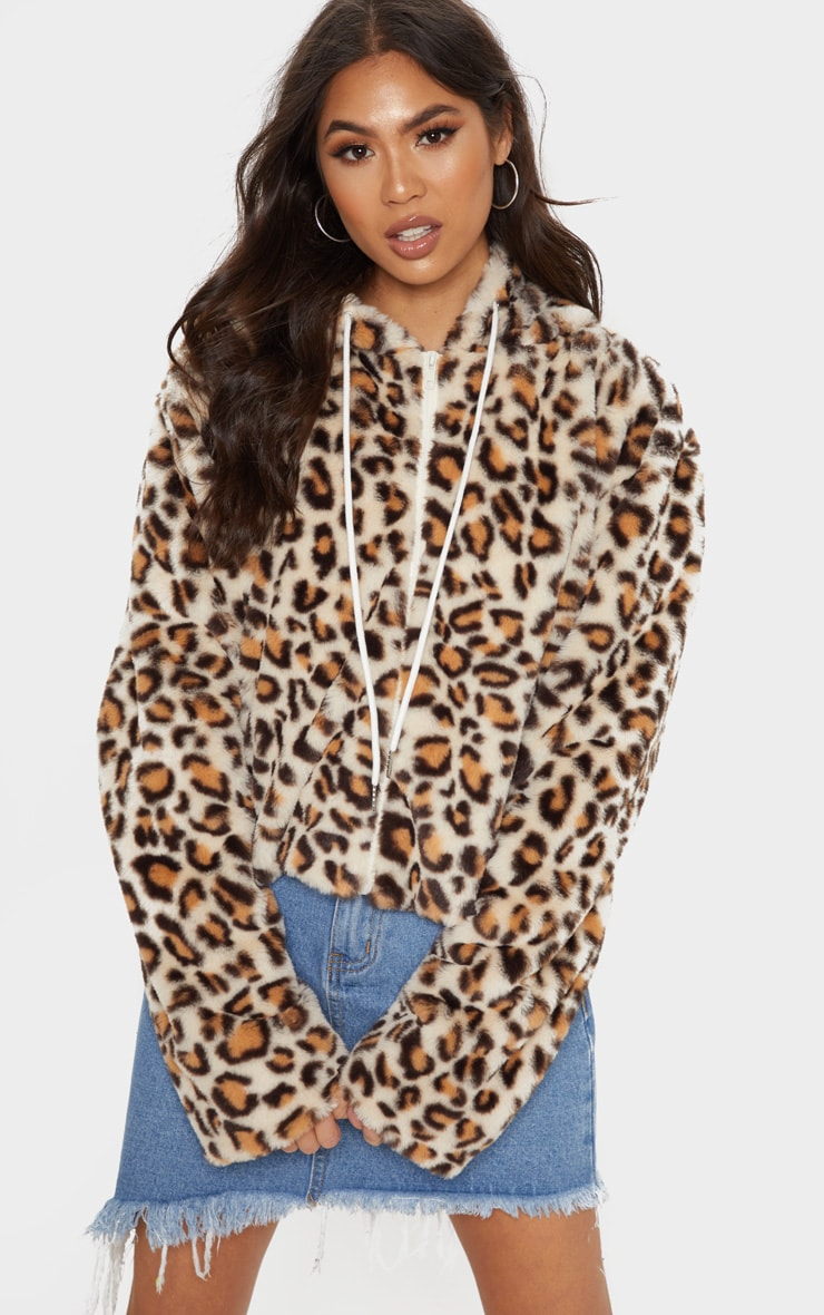 Stone Leopard Faux Fur Cropped Hooded Jacket 4