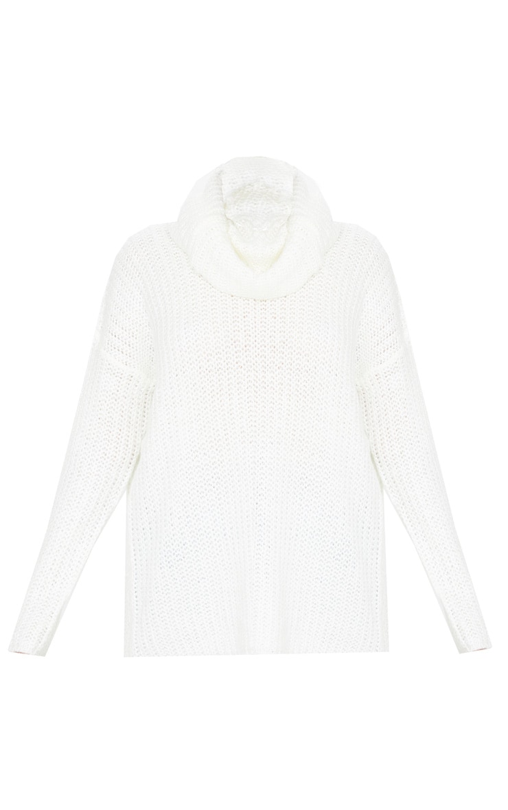 Cream Soft Knit Roll Neck Sweater 3