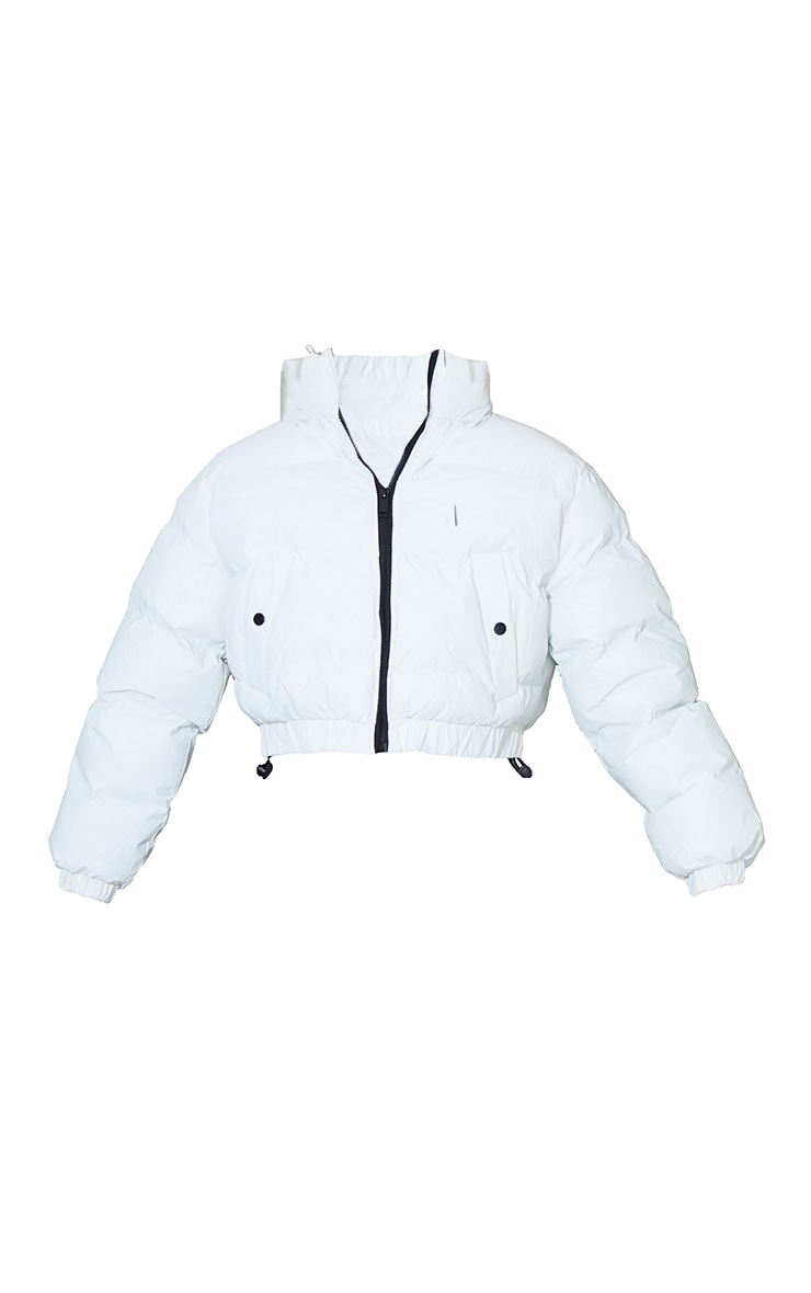 White Reflective Cropped Bubble Zip Detail Puffer Jacket 5