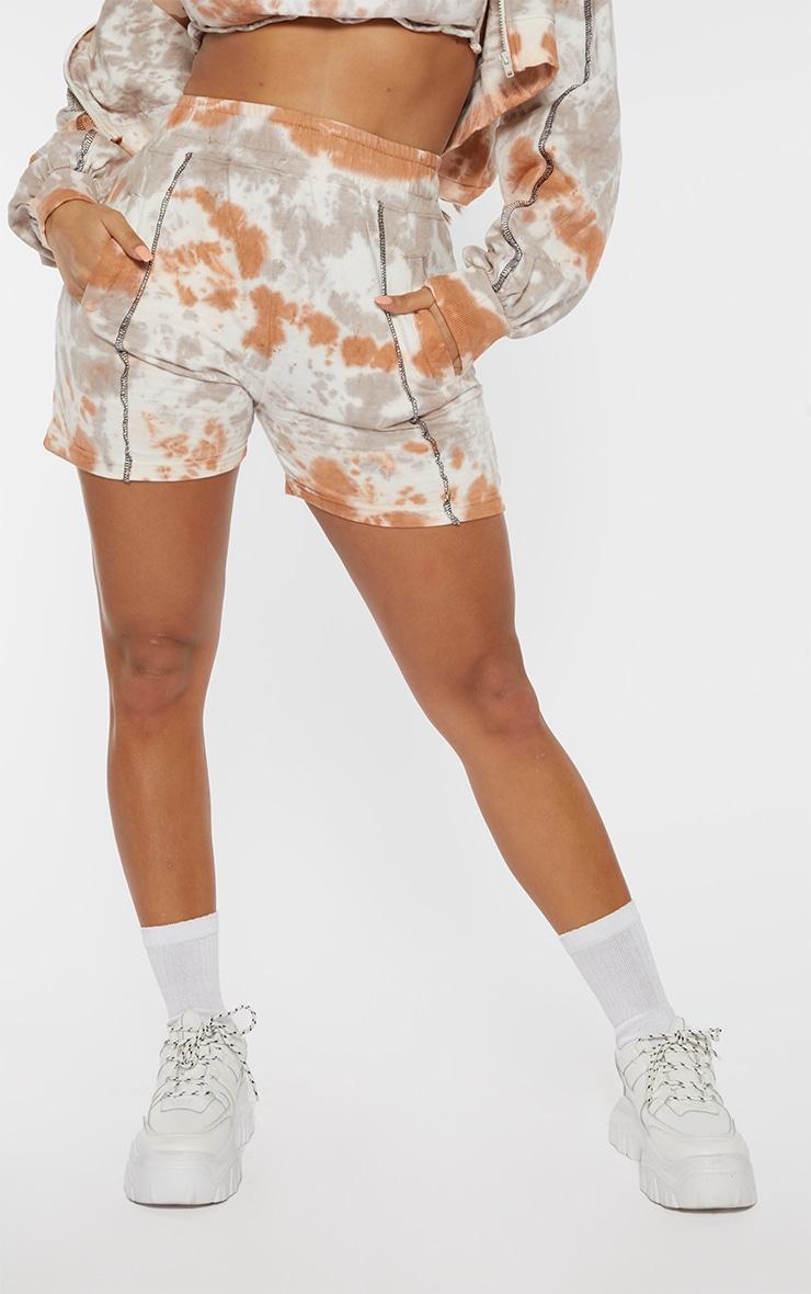 Shape Nude Tie Dye Contrast Stitch Sweat Shorts 2