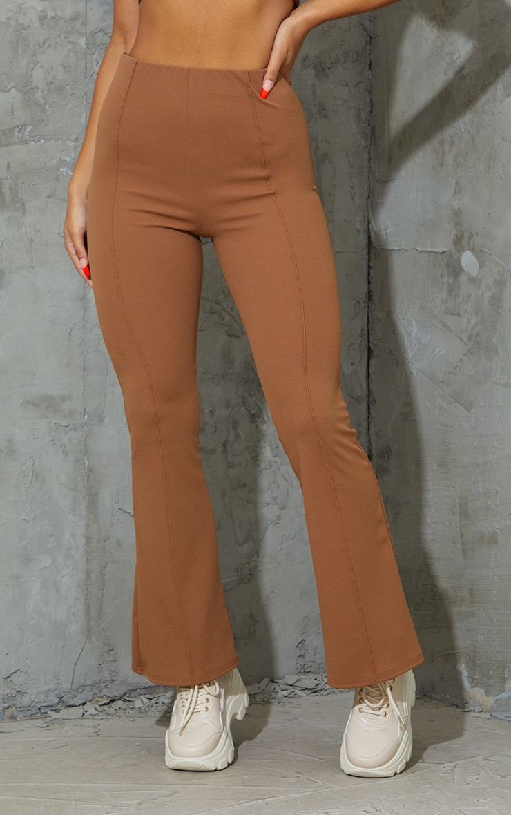 Camel Pintuck Detail Flared Trousers 2