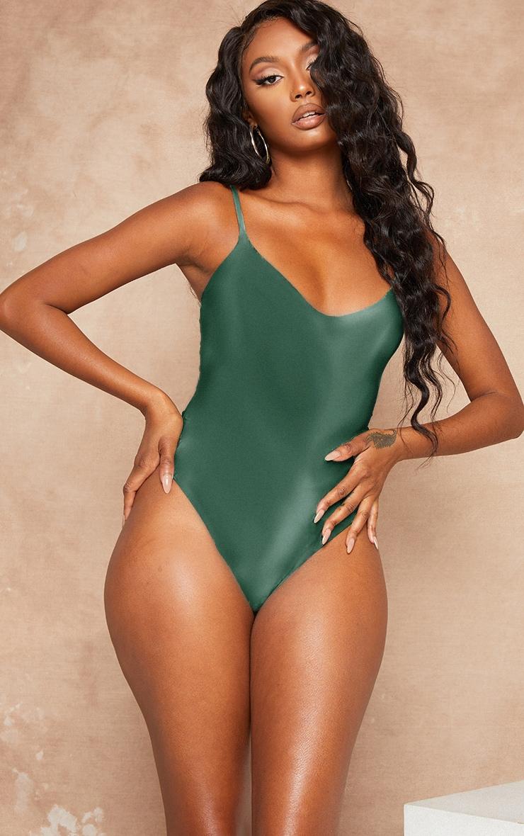Dark Green Strappy Slinky Bodysuit 3