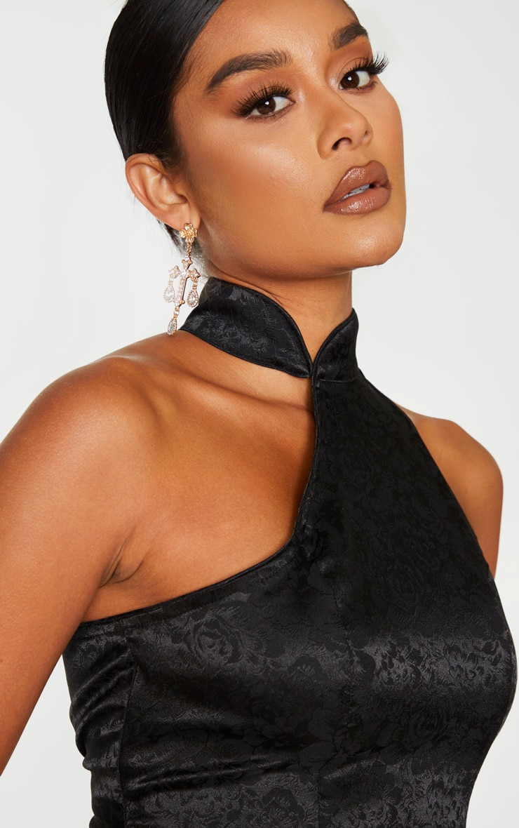 Black Satin Oriental High Neck Asymmetric Crop Top 4
