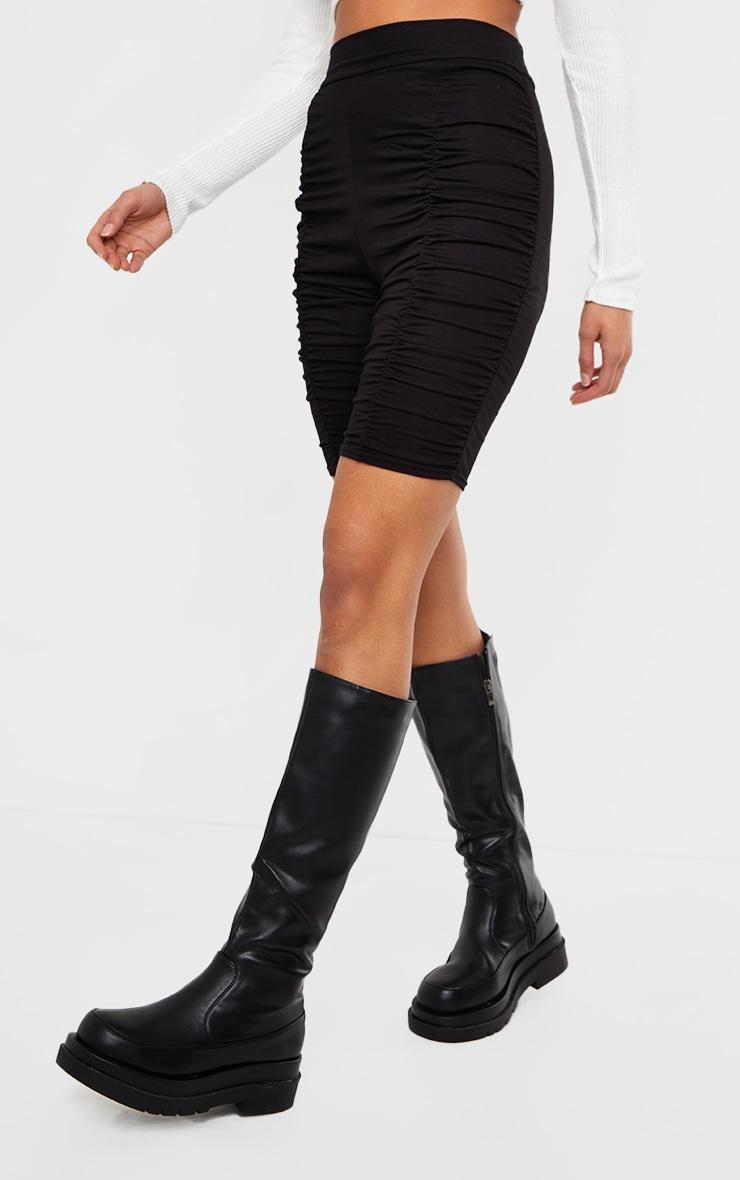 Black Jersey Ruched Bike Shorts 2