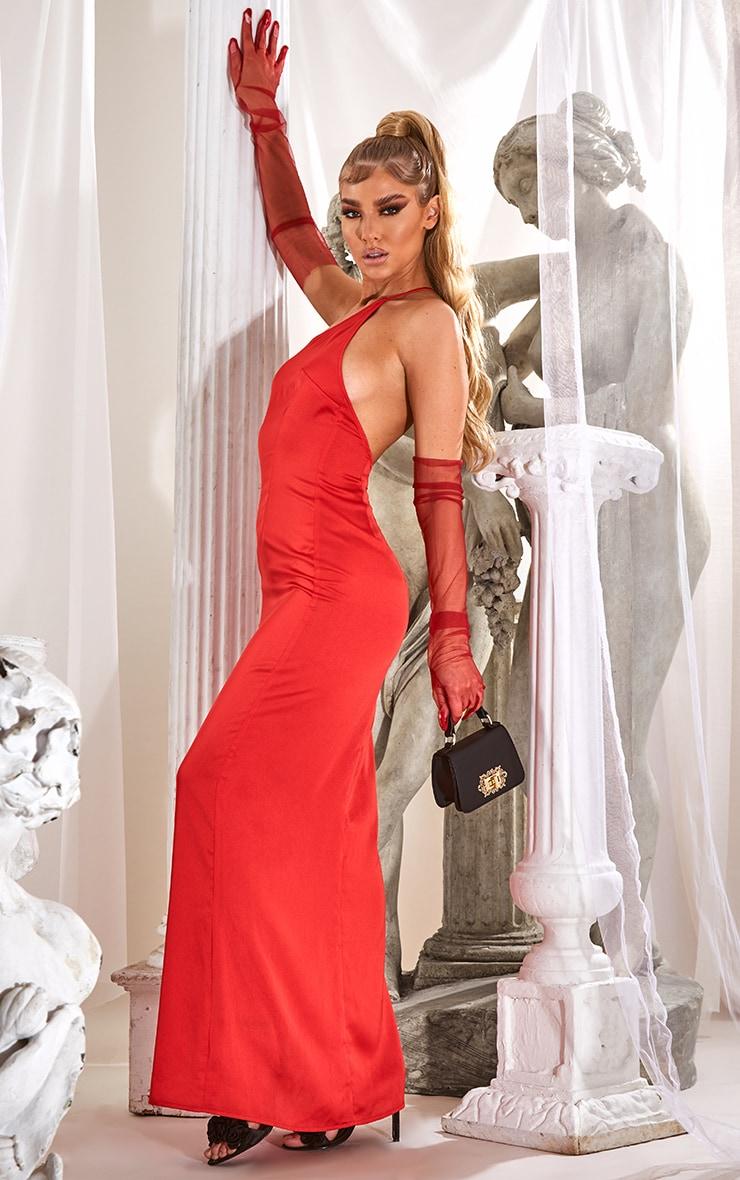 Red Strappy One Shoulder Satin Maxi Dress 3