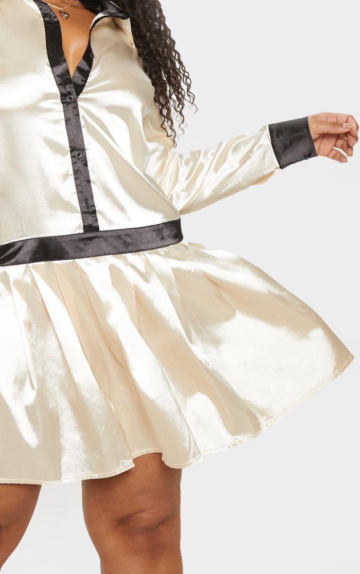 Plus Cream Pleated Skirt Shirt Dress  5