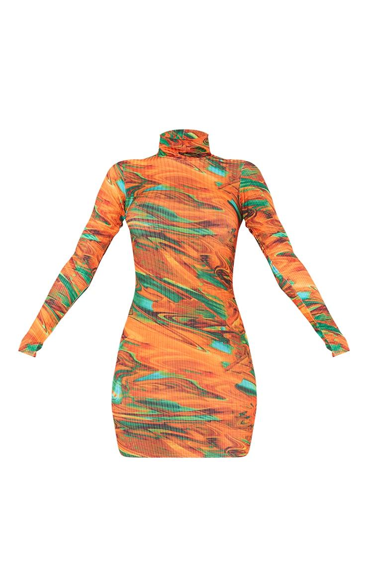 Orange Abstract Print Ribbed Long Sleeve High Neck Bodycon Dress 5