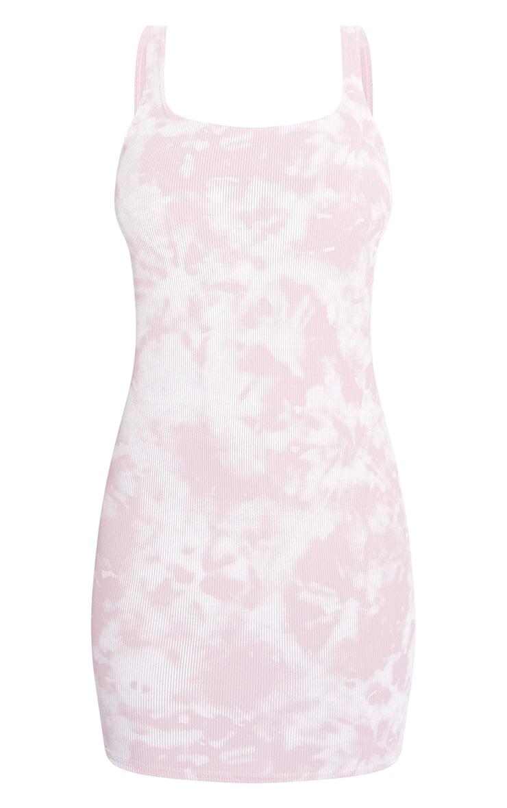 Pink Tie Dye Rib Scoop Neck Bodycon Dress 4