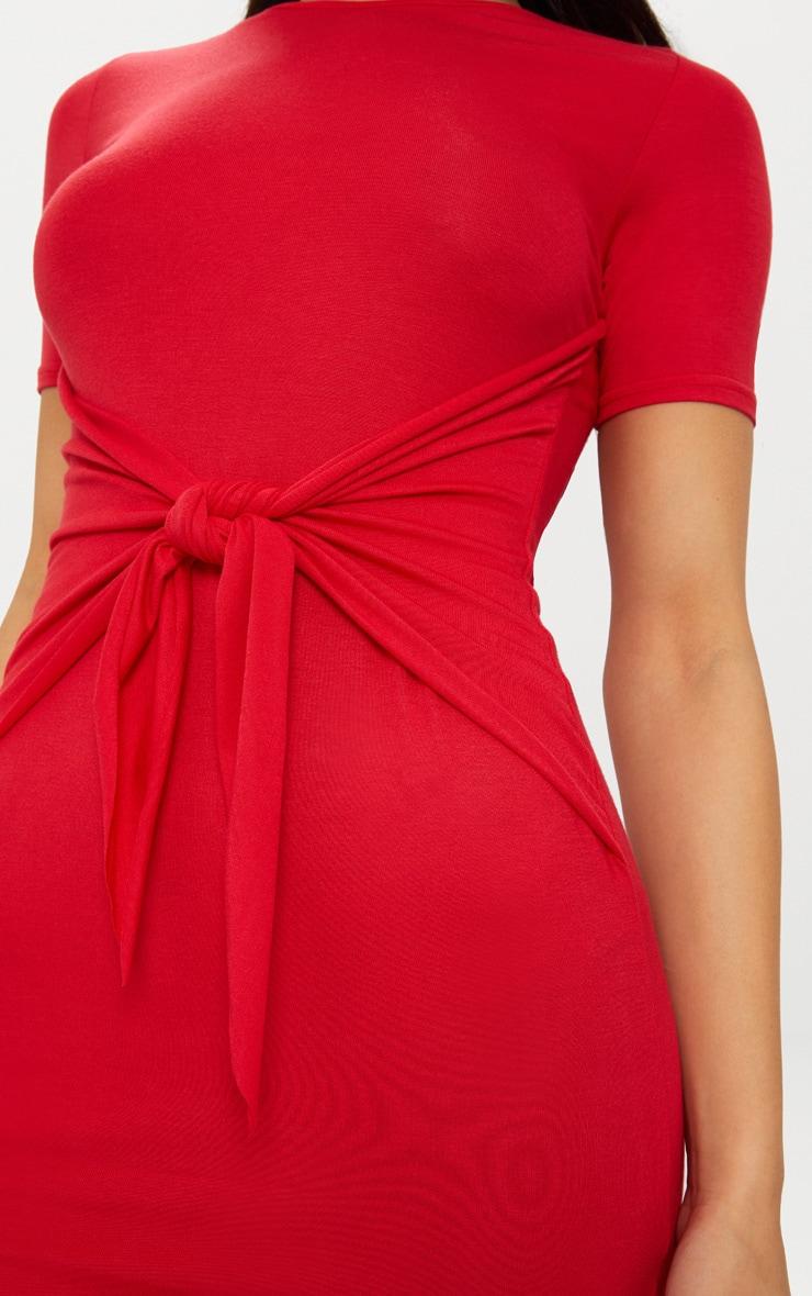 Red Tie Detail Bodycon Dress 5
