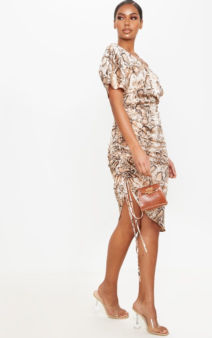 Tan Snake Print One Shoulder Ruched Side Midi Dress 3