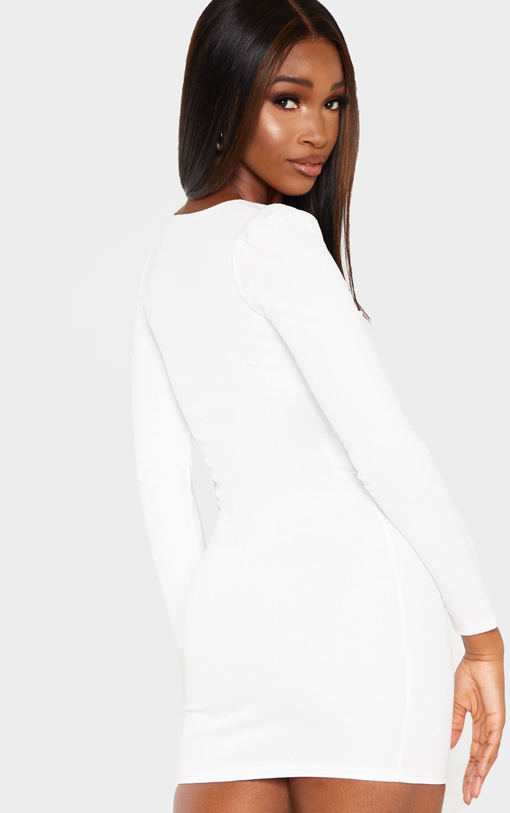 White Long Sleeve Cup Detail Hook and Eye Bodycon Dress 2