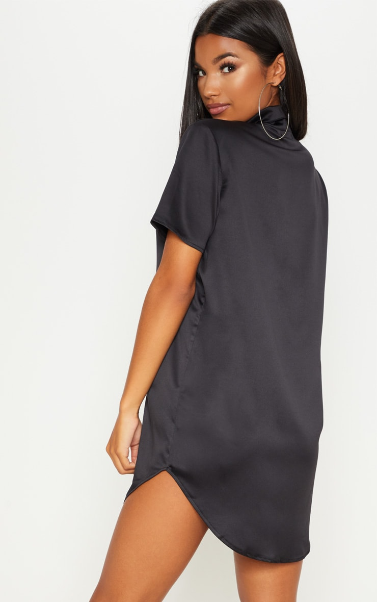 Black Satin Short Sleeve Shirt Dress 2