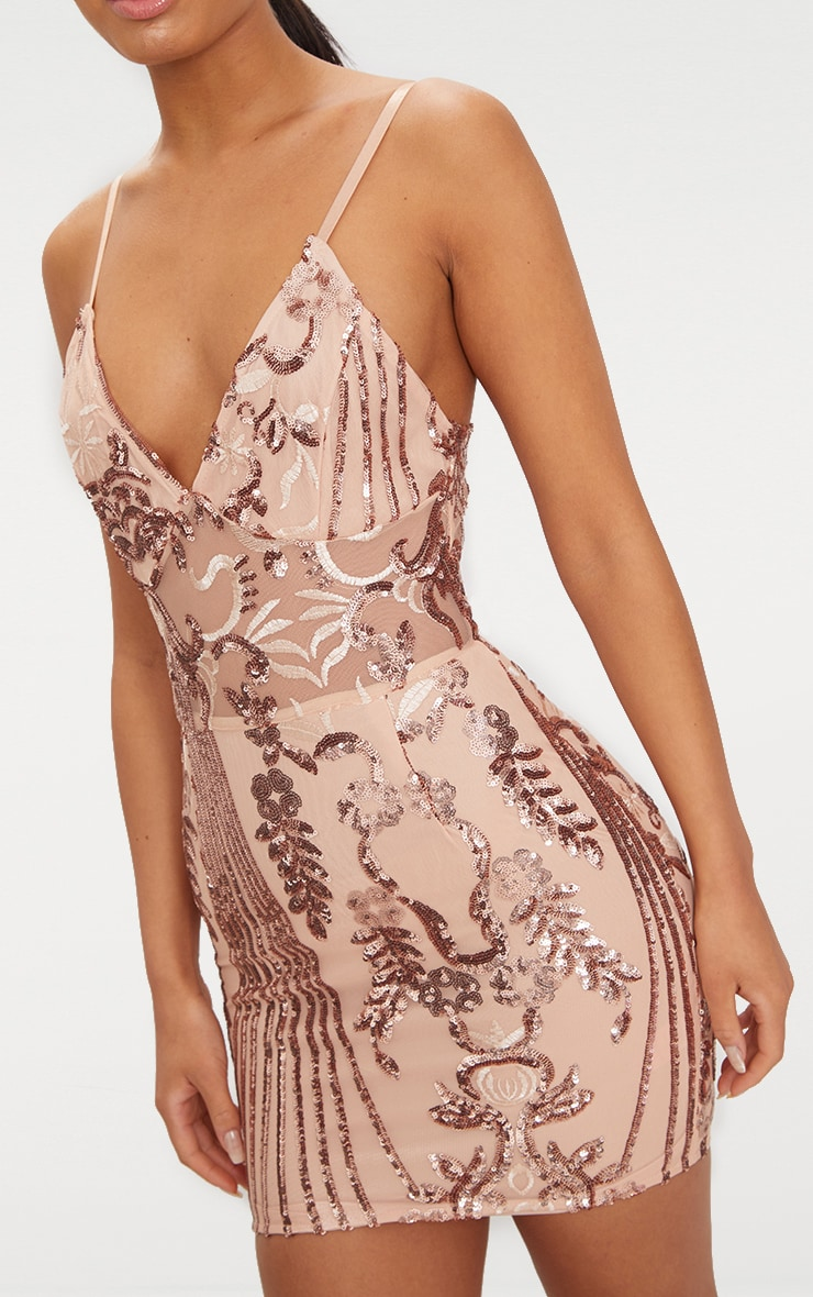 Rose Gold Sheer Strappy Panel Sequin Bodycon Dress 4
