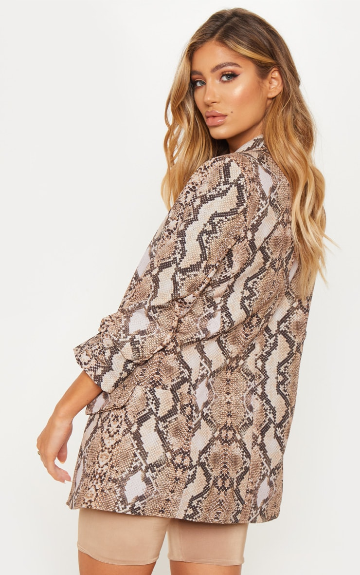 Brown Snake Print Pocket Detail Ruched Sleeve Blazer  2