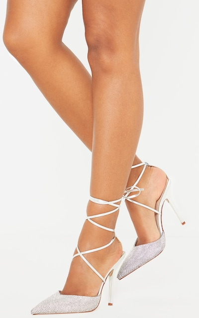 Silver Diamante Toe Ankle Tie Court Shoe